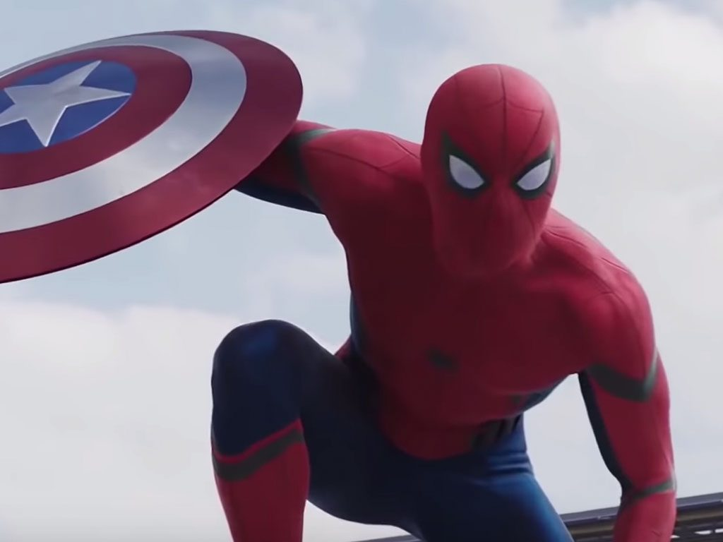 Spider Man holding Captain America's shield, in famous Spiderman kneeling pose