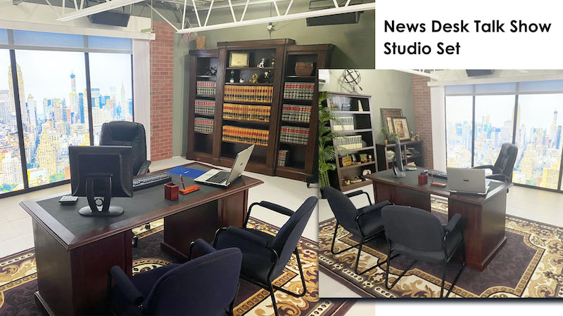 News Desk talk show studio set