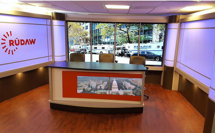 News Desk Rental Custom Talk Show Set Design #3