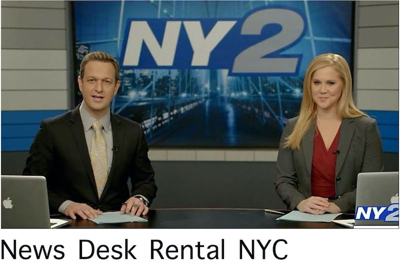 News Desk Rental NYC - newscasters facing to the camera