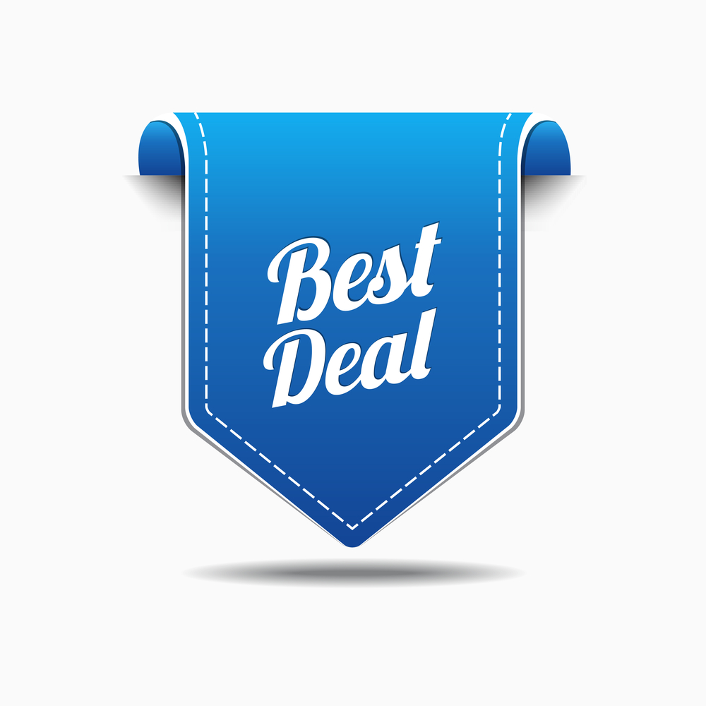 Best Deal Graphic . White letters on blue