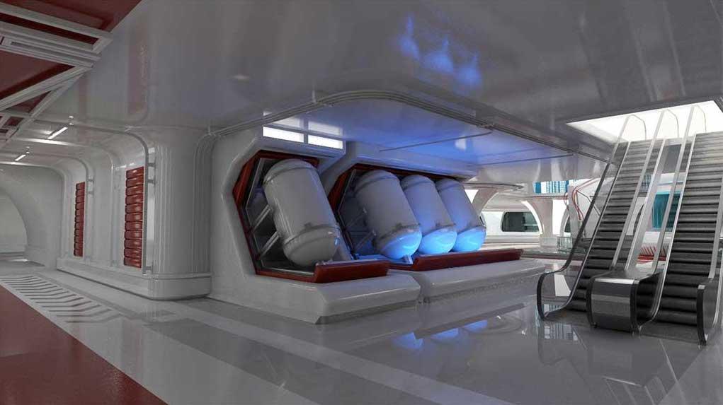 4K/3D Sci-Fi Interior Space Virtual Set 3