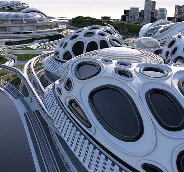 White Sci-Fi City Set 3D Model