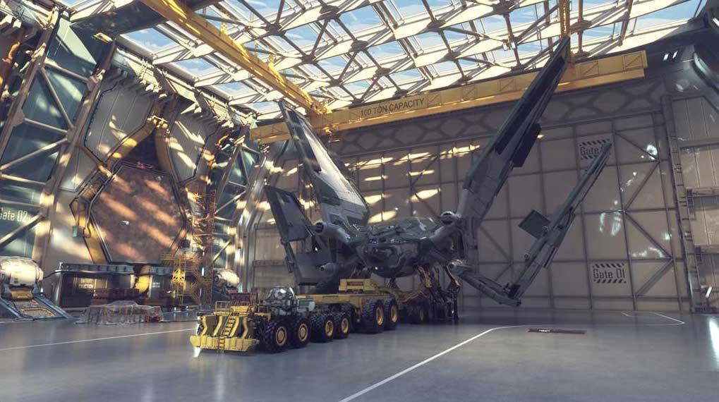 Star Fighter Hanger 3D/4K Virtual Set Model 1