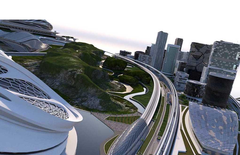 4K/3D Virtual White Sci-Fi City Set 2