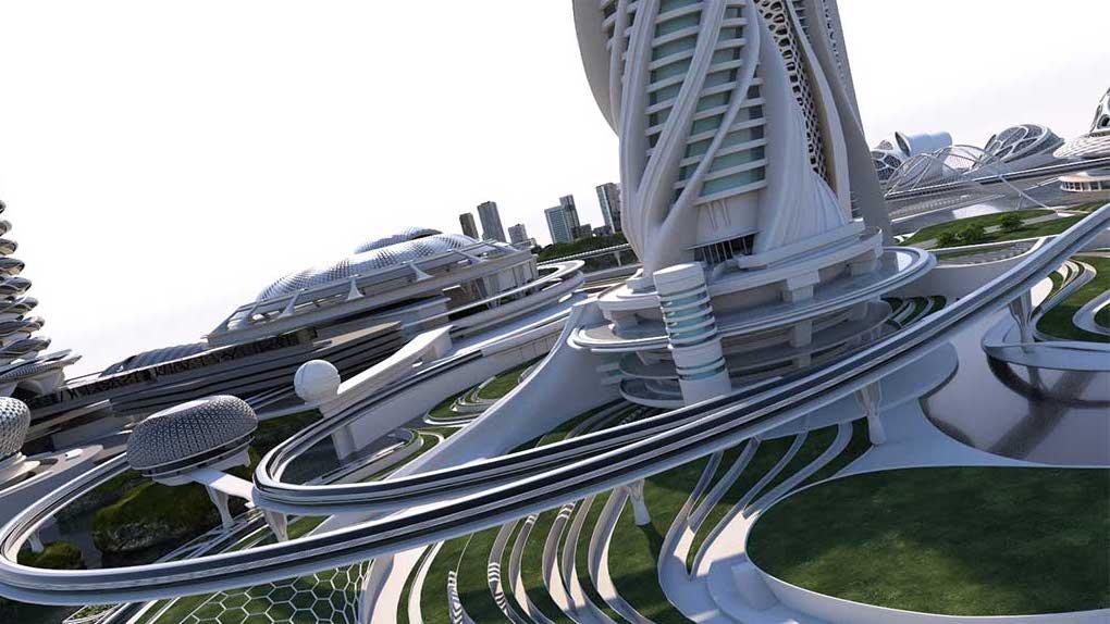 4K/3D Virtual White Sci-Fi City Set 6