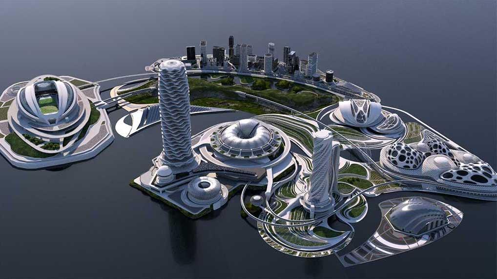 4K/3D Virtual White Sci-Fi City Set 5