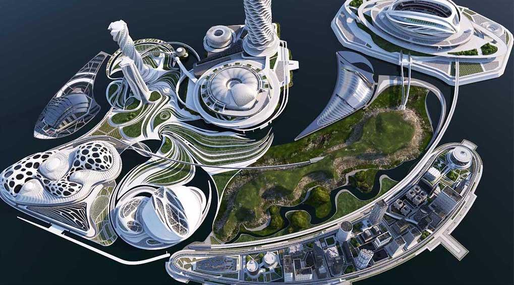 4K/3D Virtual White Sci-Fi City Set 1