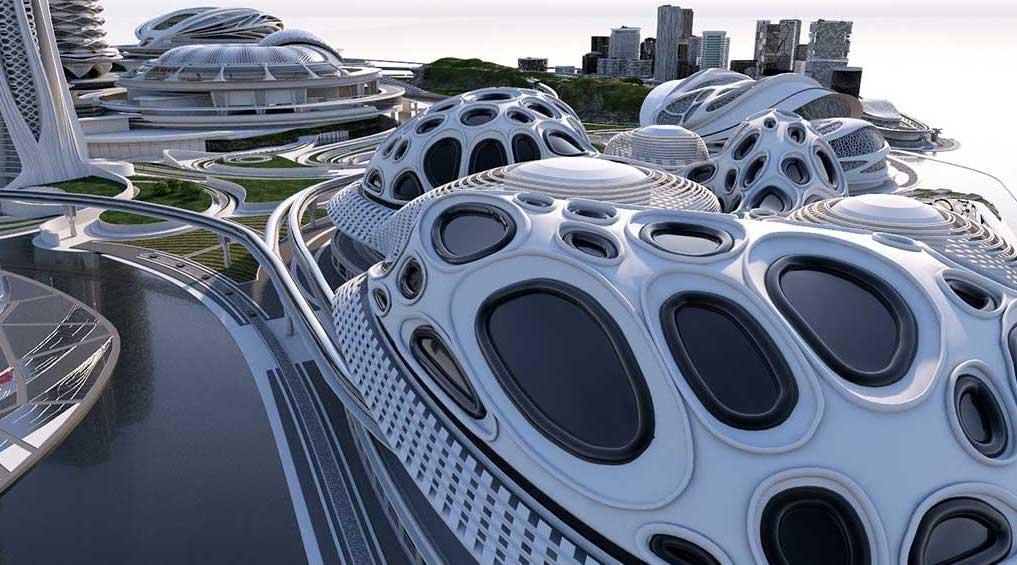 4K/3D Virtual White Sci-Fi City Set 4