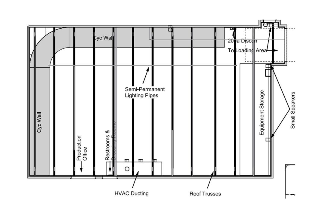 Boston Drive In Studios Floor Plan/ Lighting Grid