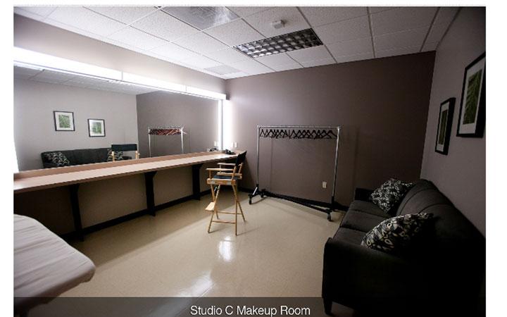 Boston Green Cyc  and White Cyc Studios Makeup Area
