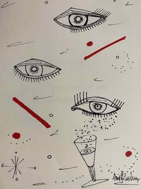drawing of eyes, champagne and red lines. 21 shows Usher in the new year