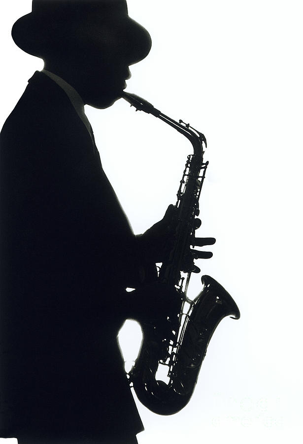 Jazz sax player in silhouette